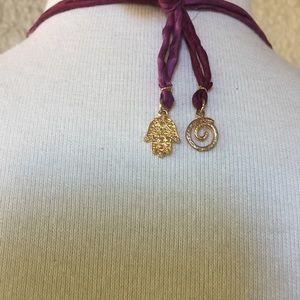 Jewelry - Necklace Brazilian Agate Slab w/Magenta Beads
